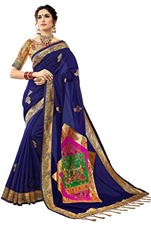 6619ddbc9a Image Unavailable. Image not available for. Color: Urban India Women's Banarasi  Silk Jacquard Saree Free Size Blue