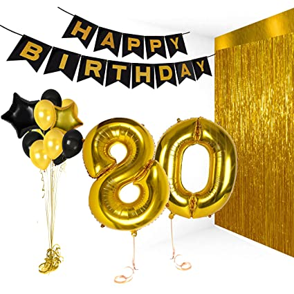 80th Birthday Decorations Happy Bday Banner Party Kit Pack B Day Celebration Supplies With Gold