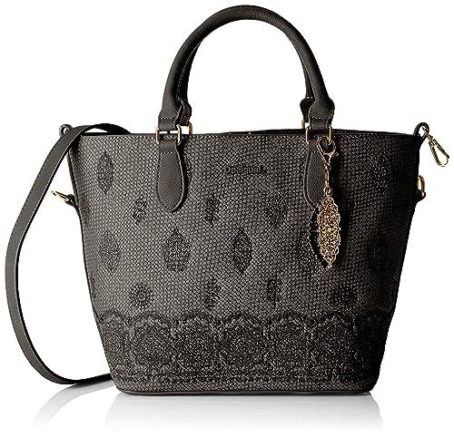 Desigual - Bag Paola Florida Women, Carteras de mano con asa Mujer, Negro,