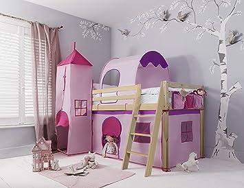 Noa And Nani Lit Cabane Rose Pour Enfants Avec Toboggan Tente - Lit cabane rose