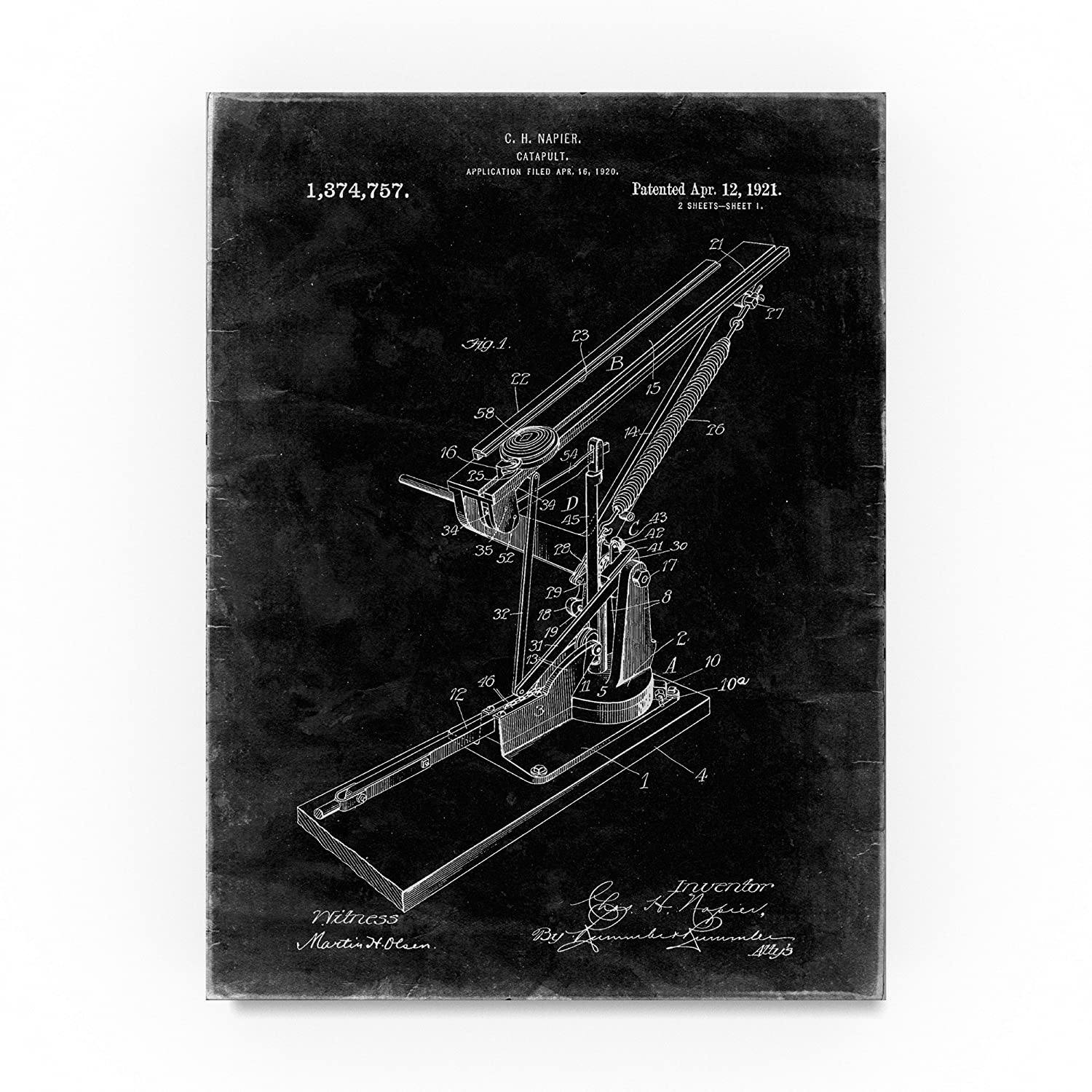 Catapult By Cole Borders 18x24 Inch Canvas Wall Art Engineering Schematics Posters Prints