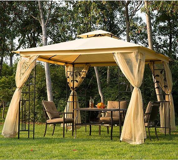 Outsunny – Carpa de jardín de lujo, cenador de jardín, de 3 x 3 m: Amazon.es: Hogar