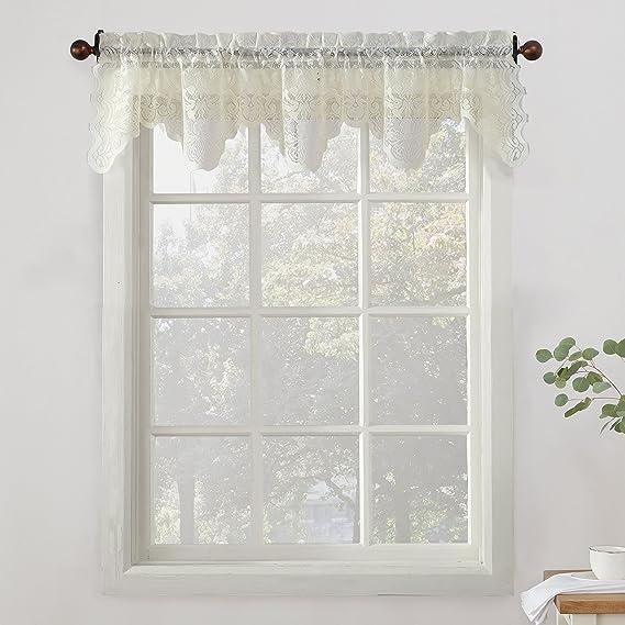 No 918 Alison Sheer Lace Kitchen Curtain Valance 58 X 14 Ivory Home Kitchen Amazon Com