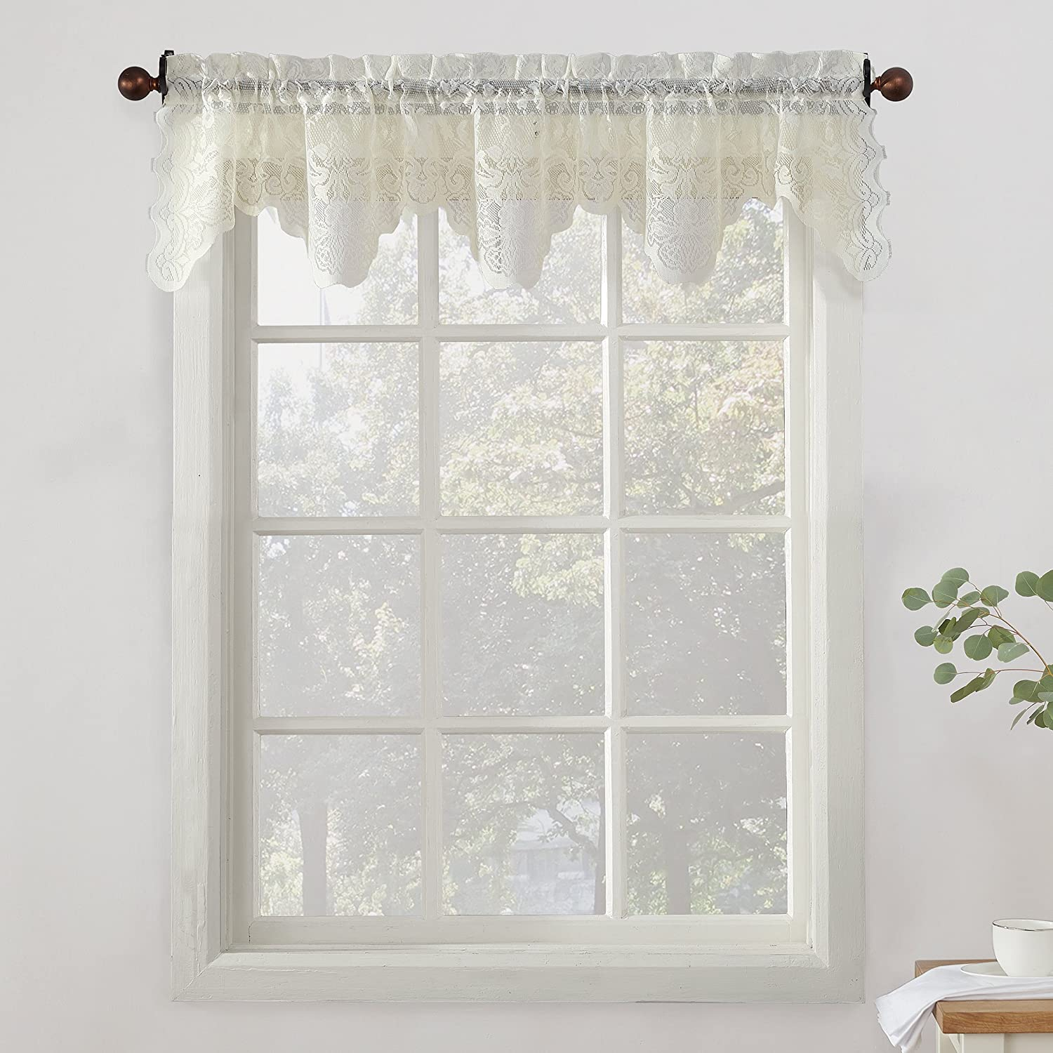 918 alison floral lace sheer kitchen curtain valance 58 x 14 ivory home kitchen