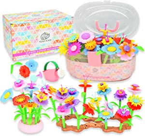 Yosh Kids Flower Garden Building Toys – Pretend Play Child Gardening and Build a Bouquet Kid Activity Set for 3 4 5 6 Year Old Toddlers and Preschool Children - Creative STEM Toy Gifts for Girls