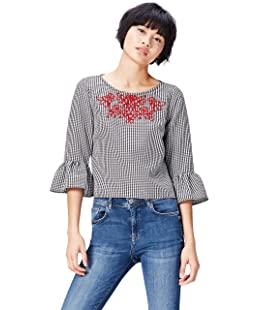 FIND Women's Blouse Crew Neck Embroidered, Multicoloured (Black/White Check), 10 (Manufacturer size: Small)