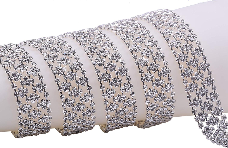 KAOYOO 1 Yard Crystal Rhinestone Chain Trim Sewing for Clothing,SS08//2.5mm//0.01,Gun Black Chain with Crystal Beads Black