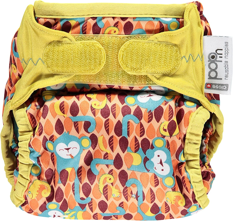 Close Parent Pop in Pañal Individual Lavable de Tela 1 pc Pañal Lavable de Bambú para Bebe, Pañal Ajustable y Reutilizable para Bebés Antiescapes Estampado Ticky and Bert Monkey