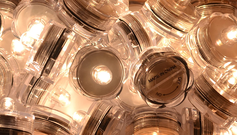 Warm White, Flower Petal Wedding Centerpieces Party Decorate Samyo Waterproof Wedding Submersible Battery LED Tea Lights Underwater Sub Lights 36 Pcs
