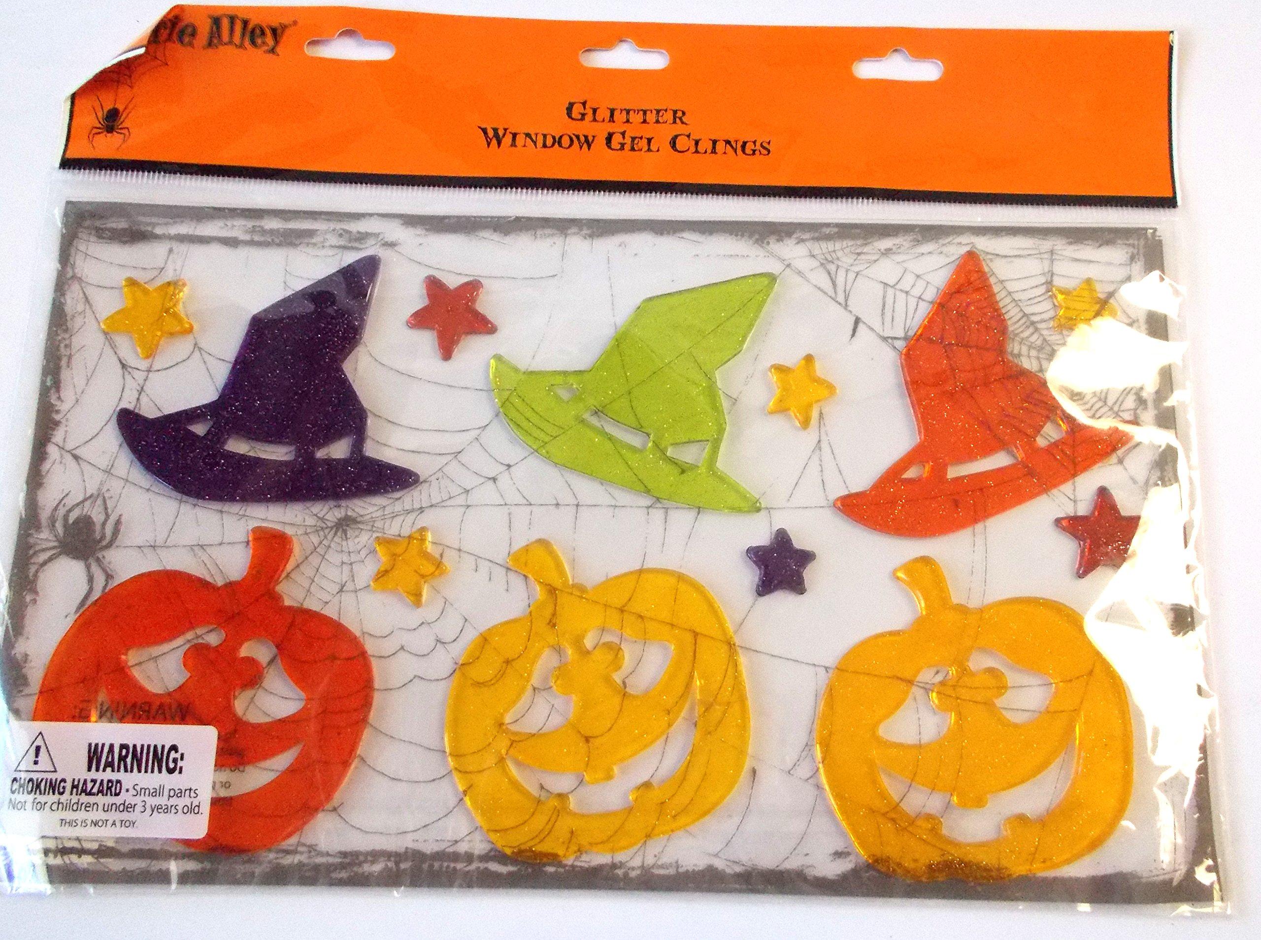 Glitter Witch Hat Pumpkins Halloween Gel Clings Window Mirror Decor NIP
