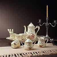 "Panbado 12-Piece Ivory Porcelain Ceramic Coffee Set Tea Set Creative European Luxury Hand with 1-Piece 8.5 "" teapot,4-Piece 4.5 "" Cup,1-Piece 6.5 "" Sugar pot ,1-Piece 4.8 "" Milk jar,4-Piece 6"" Spoon,1-Piece 19.5 "" Tray"