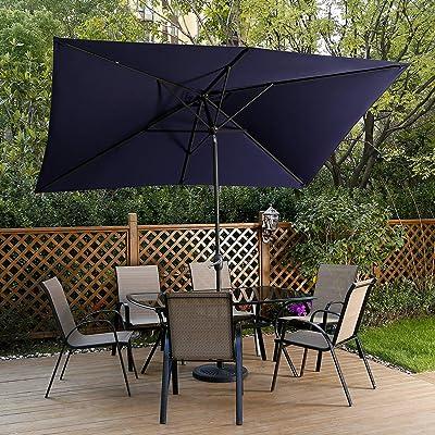 11Ft Patio Umbrella Garden Canopy Outdoor Table Market Umbrella w// Push Button