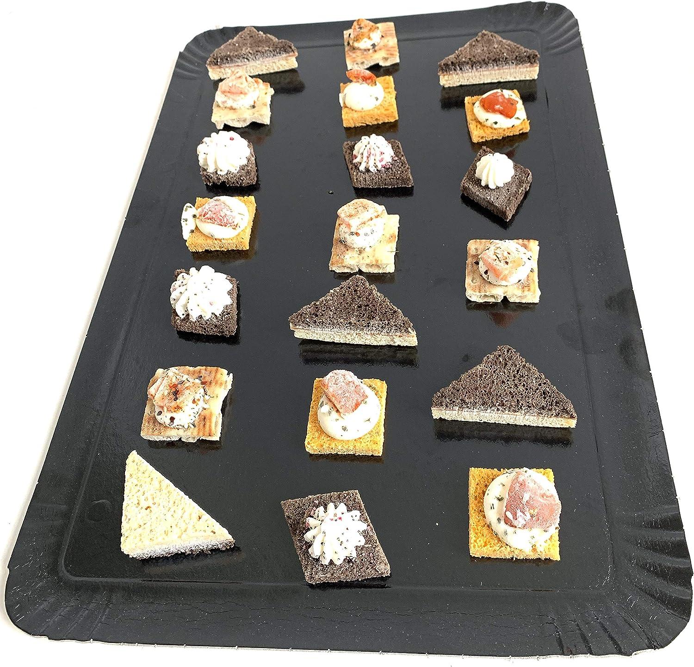 Plateaux de pr/ésentation pour p/âtisseries ou Buffet Froid Noir Extiff Lot de 25 Plateaux en Carton 28 x 19 cm