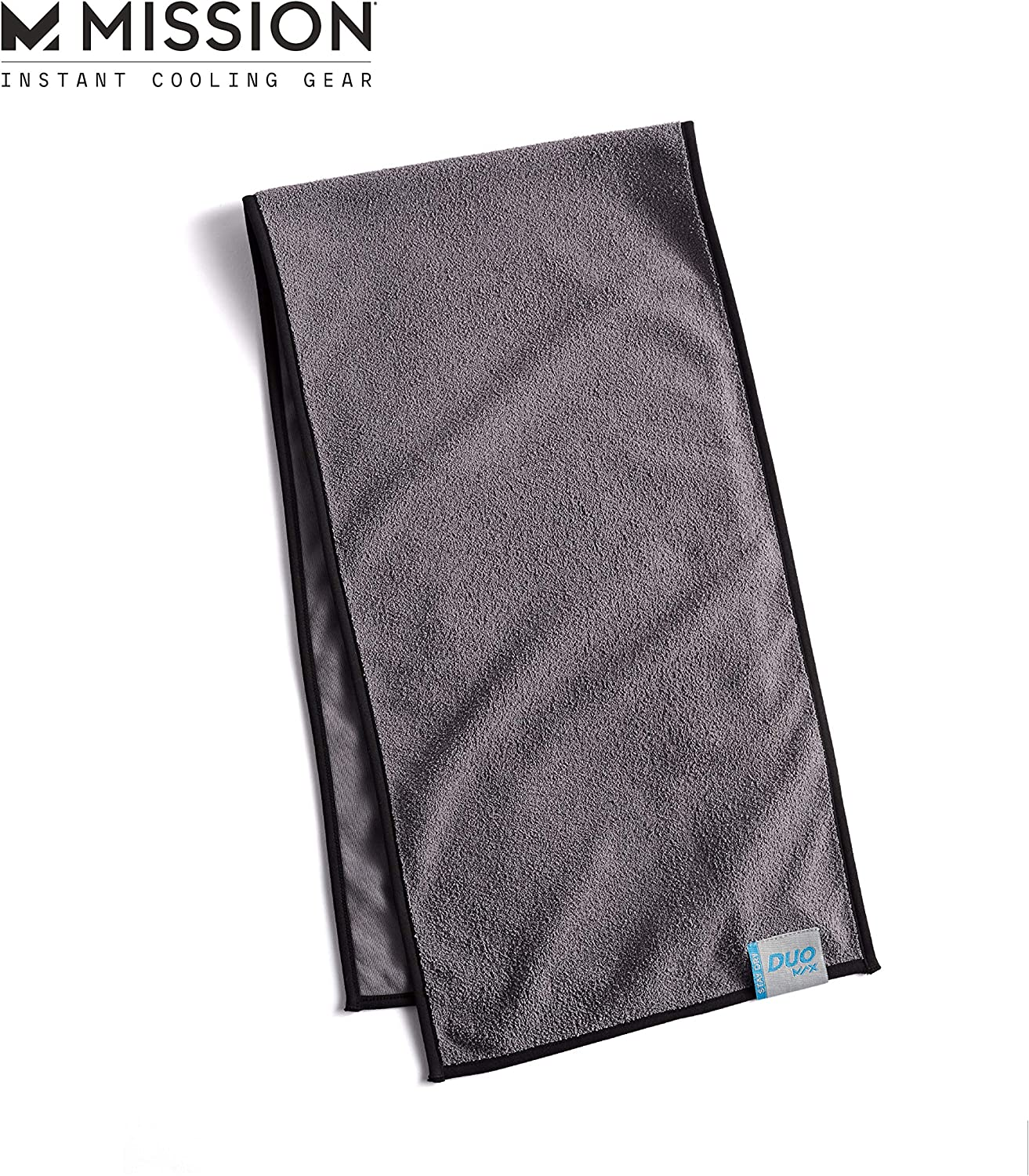 MISSION Cooling DuoMax Towel Dual Sided Towel One Terry Side to Dry You, One Evaporative Cooling Side to Cool You, Cools Instantly When Wet, UPF 50 Sun Protection, Yoga, Gym, Neck, Workout- Charcoal