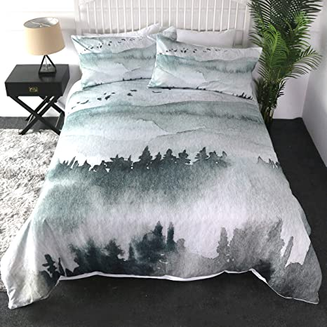 Sleepwish Mount Rainier Duvet Cover Misty Frog Forest Soft Bedding Set For Nature Bedroom 3 Pieces Outdoor Print Blue Valley Bed Sets Queen Kitchen Dining