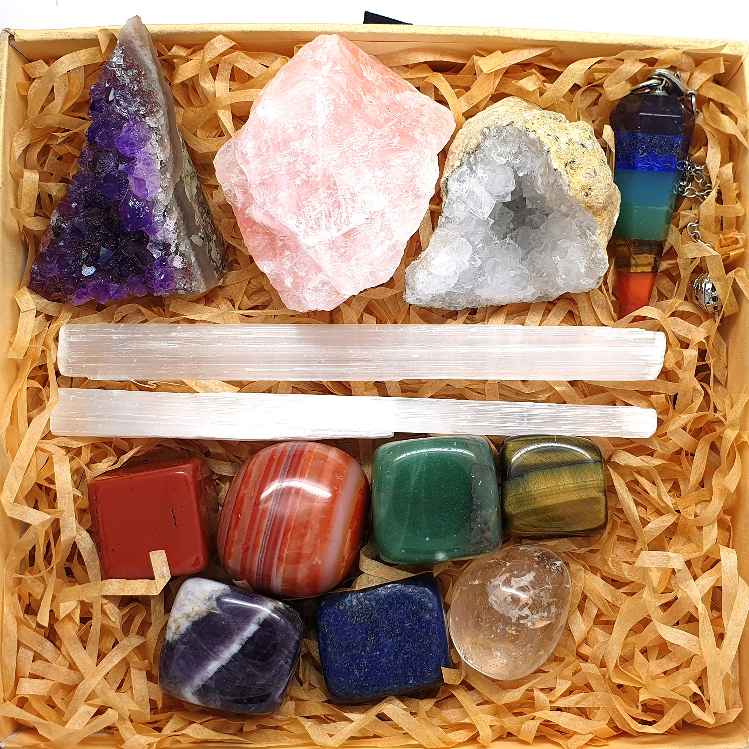 Crystals and Healing Stones Kit with 13 pcs. Healing Crystals, Gemstones and Crystals for Beginners Including Chakra Stones and Chakra Crystals. by Zenluma