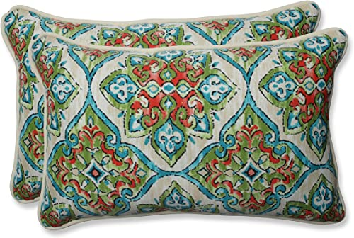 Pillow Perfect Outdoor Indoor Splendor Opal Rectangular Throw Pillow, 2 Piece,Multicolored