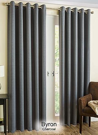 Plain Eyelet Ring Top Curtains Charcoal Black Grey Tweed Tartan Weaved  Woven Print Thermal Block Out