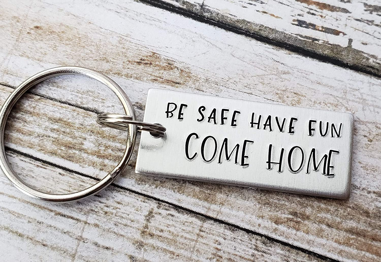 New Driver Key Chain Come Home Teen Birthday Gift Small Gift for Teenager Hand Stamped Keychain