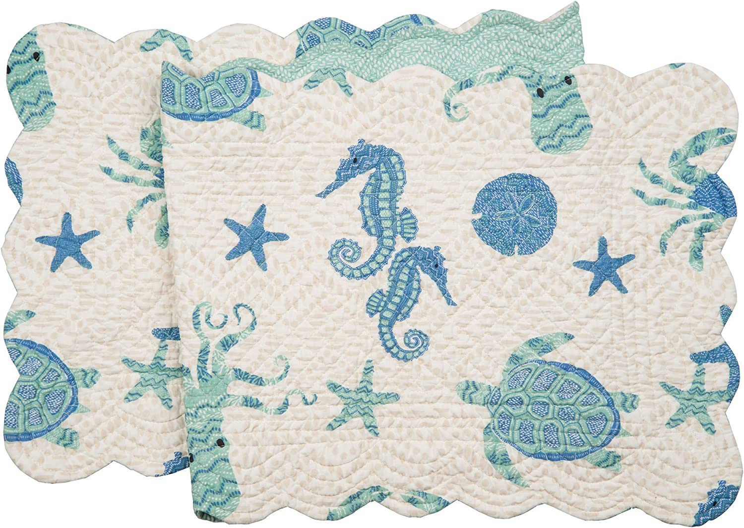 C&F Home Brisbane Cotton Quilted Reversible Table Runner 14x51 Table Runner Aqua