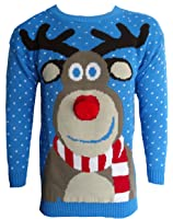 Blush Avenue® Mens Womens 3D Rudolph Reindeer Elf Novelty Xmas Sweater Jumper Knitted Top