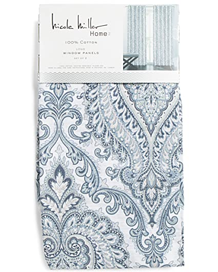 Nicole Miller Perrin Damask Medallions Pair Of Curtains Set 2 Window Panels 52 By 96