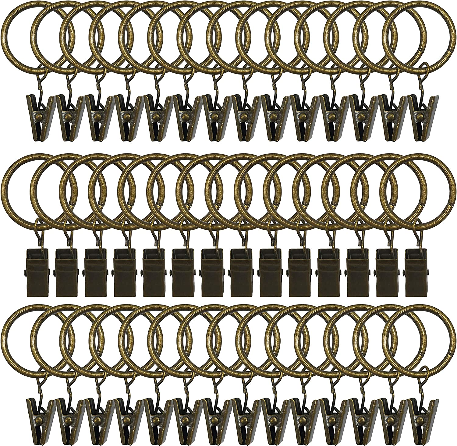 42 Pack Curtain Rings with Clips Decorative Drapery Rustproof Vintage Compatible with up to 5//8 inch Drapery Rod Silver Color