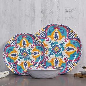 Melamine Dinnerware Set, 12pcs Melamine Dinner Plates and Bowls set, for Everyday Use, Shatter-Proof, Dishwasher Safe