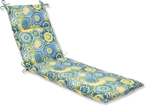 Pillow Perfect Outdoor Indoor Omnia Lagoon Chaise Lounge Cushion, 72.5 in. L X 21 in. W X 3 in. D, Blue