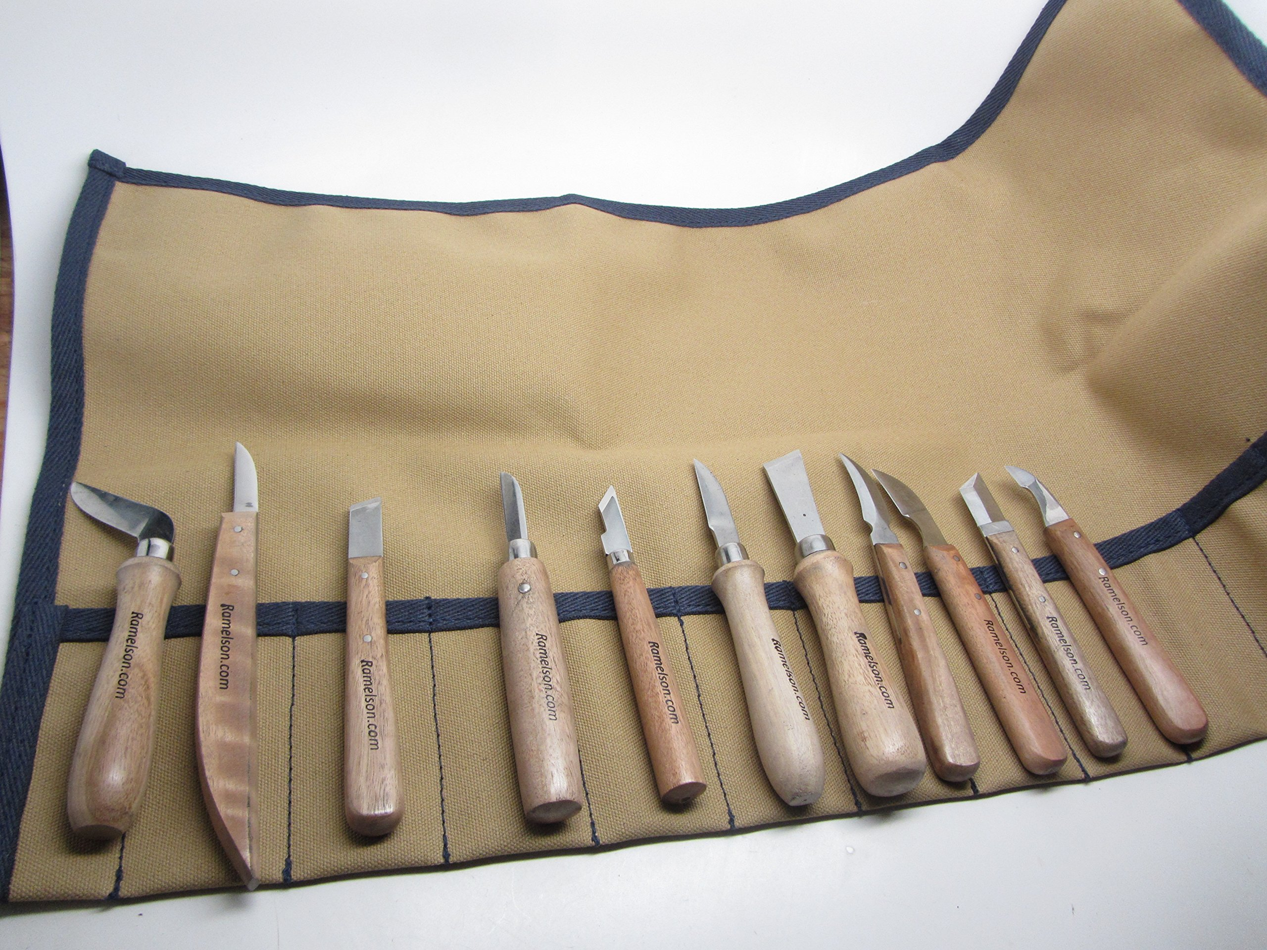 11 Chip Woodcarving Knives & Canvas Tool Roll