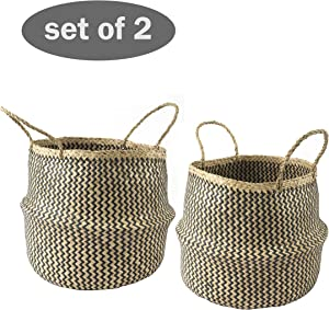 "2 Pack Large 13""x14.2"" Seagrass Belly Basket with Handles 