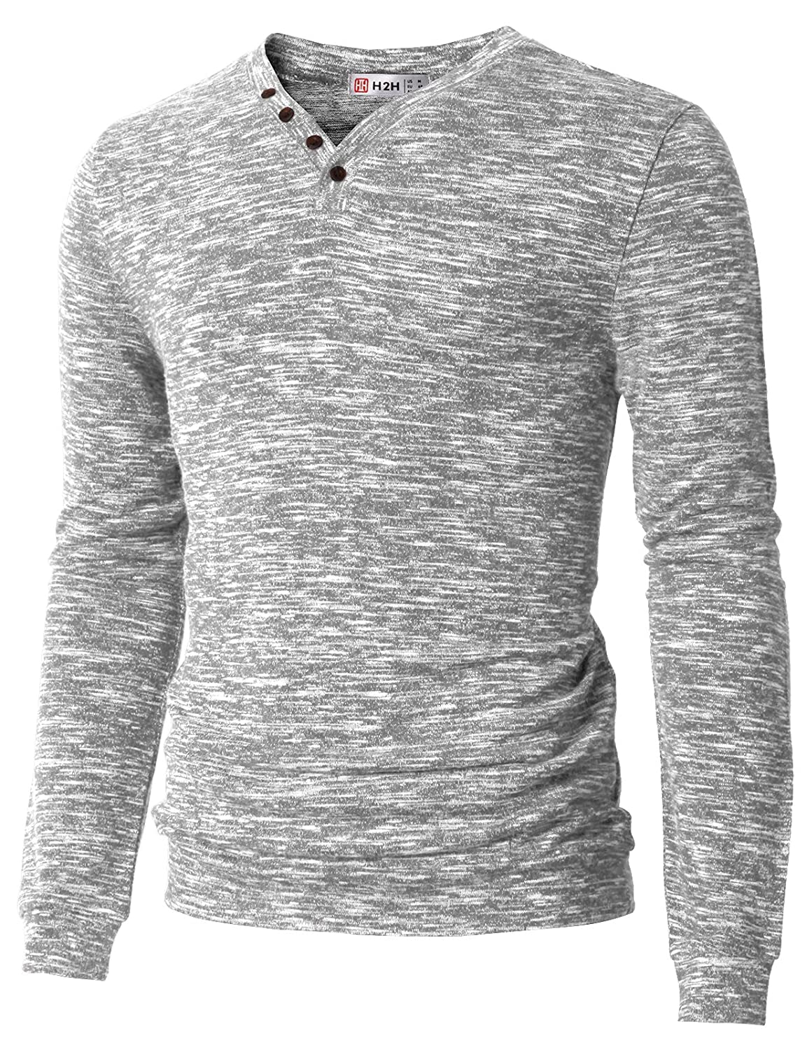 H2H Men's Casual Long Sleeve Tops V-Neck With Buttons T-Shirt #CMOSWL019