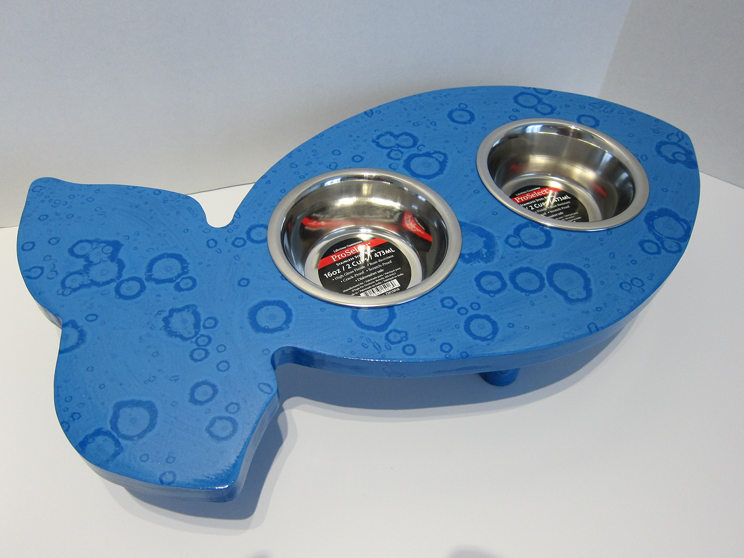 Fish Shaped Elevated Food Dish Holder - Xsmall by Clever Cat & Crafty Dog
