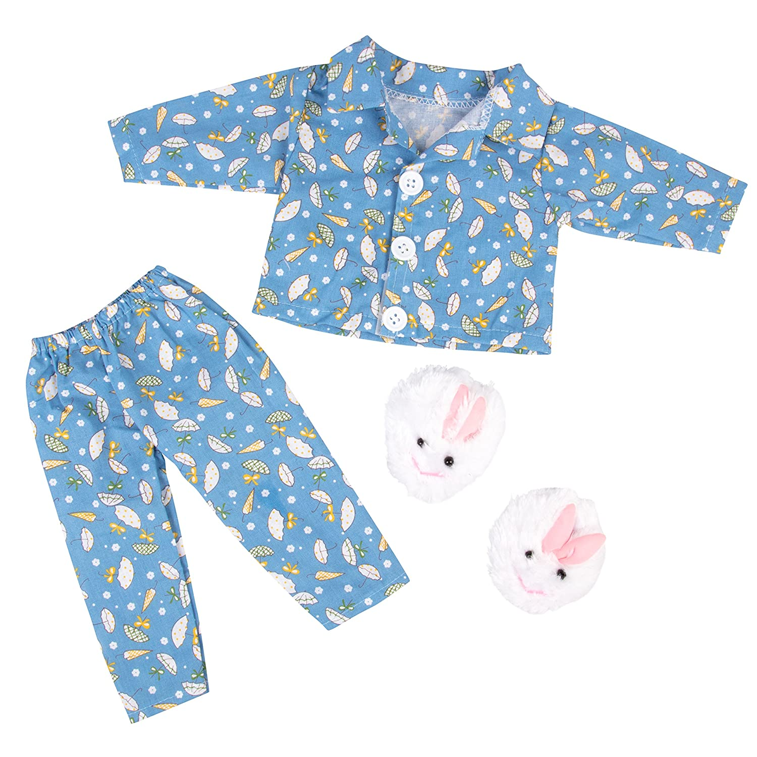 Rainy Day Set with Easter Bunny Slippers Outfit Dress Along Dolly Blue Pajamas Doll Clothes 3pcs Outfit