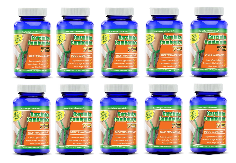 Garcinia Cambogia 75 Weight Management 75% HCA 60 Veggie Caps Per Bottle (10 Bottles)