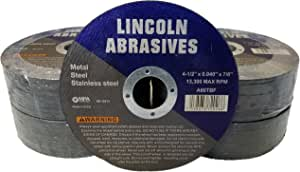 """100 Pack 4.5"""" Cut-Off Wheels Lincoln Abrasives .040"""" Metal & Stainless Steel"""