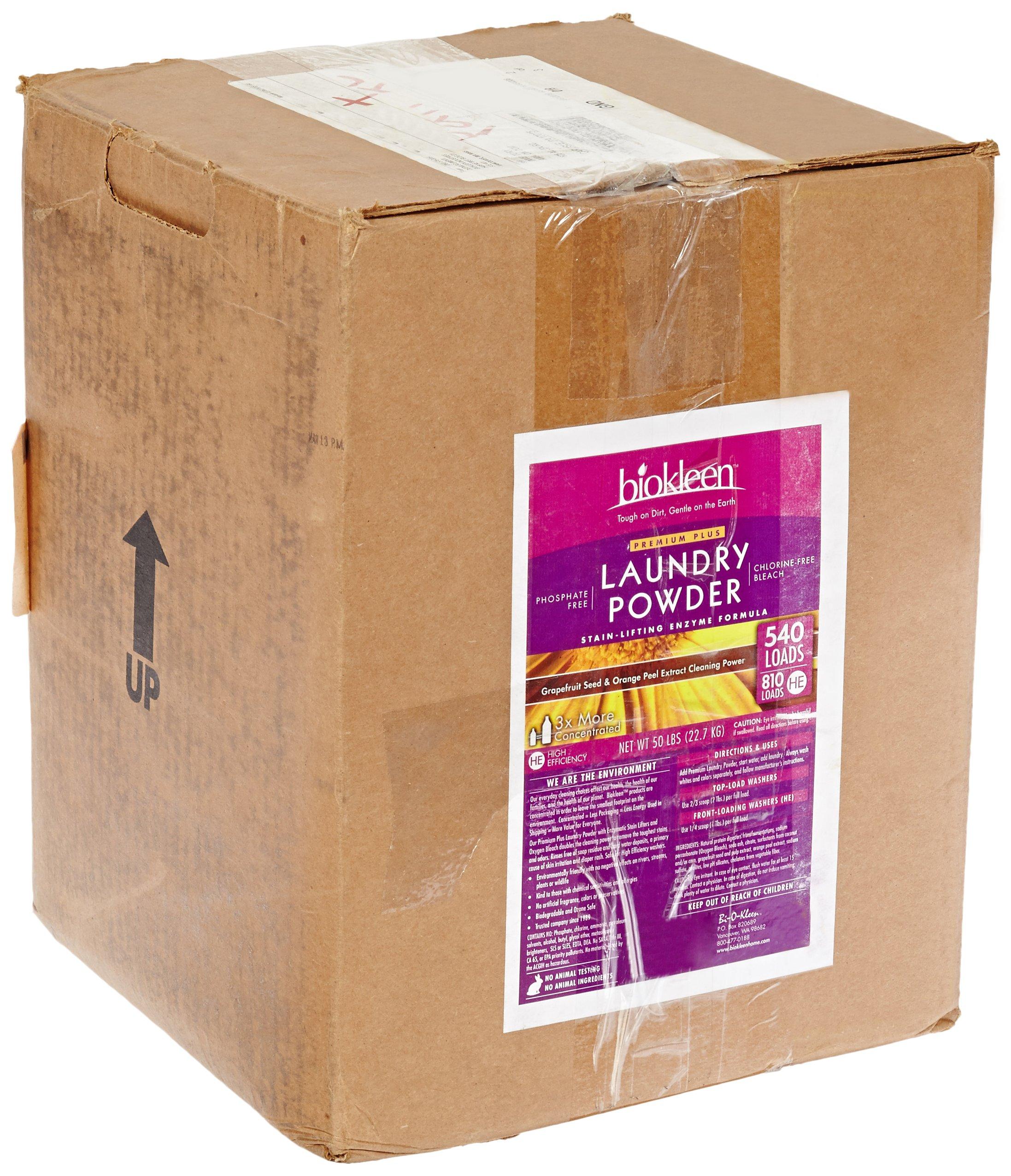 BioKleen 00047 Premium Laundry Powder, 50 lbs Box - 750 HE Loads/500 Standard Loads