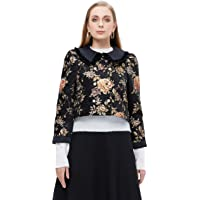 Generic M Retail Premium Collection Women Fashion Quilted Jacket Floral Embroidered Coat for Fall/Winter, Black, Large