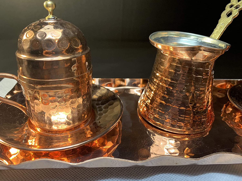 Sultans Palace 10 pezzi Tazze da caff/è e caraffa da caff/è turchese caffettiera e tazze da caff/è in rame per due persone greco arabo Mok-Set in marrone