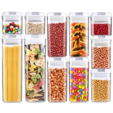 Food Storage Container Large Size, OnederHome Air-Tight Cereal & Dry Food Storage - 11 Piece Set with Free 20 Pcs Chalkboard Labels - BPA Free - Keep Food Dry & Fresh with Easy Lock (11 Pack)