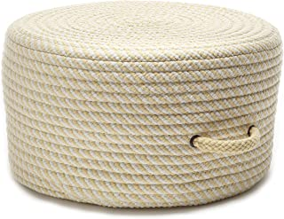 "product image for Colonial Mills Bright Twist Pouf Ottoman, 20""x20""x11"", Pale Banana & White"