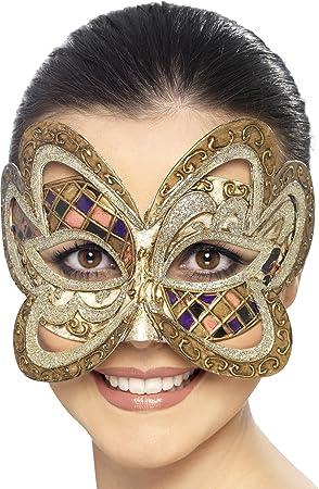 Smiffys Máscara veneciana arlequín de mariposa, color dorado (27659)
