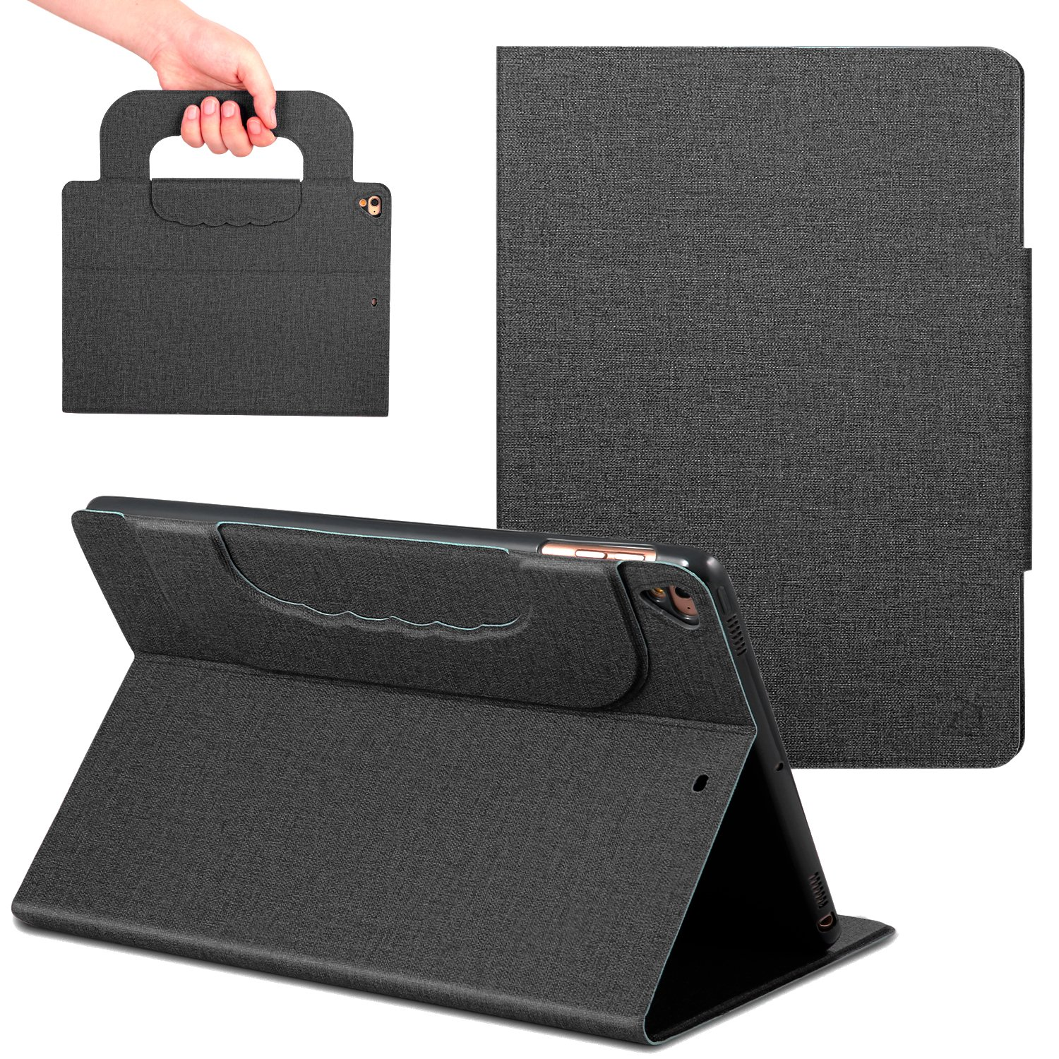 New iPad Case 9.7 inch with Handle,ANG PU Leather Business Case with Auto Wake/Sleep Function,Folio Stand Case with Cover for iPad 9.7 inch 2018/2017/iPad Pro 9.7/iPad Air 2/iPad Air(Black)