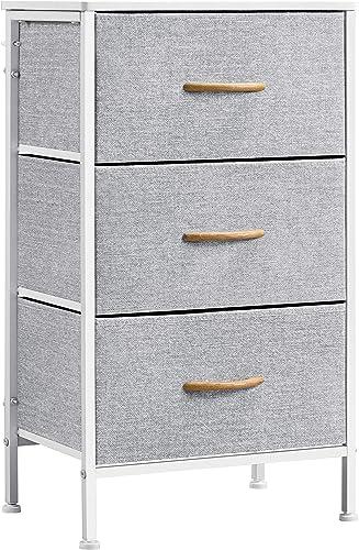 Topeakmart 3-Drawer Fabric Dresser Nightstand End Table Storage Tower