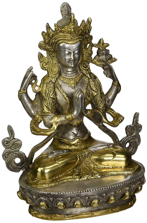 Shadakshari Lokeshvara Chenrezig Brass Statue Tibetan Buddhist Deity