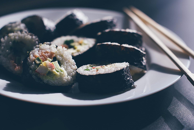 1x Rice Paddle BambooMN Sushi Making Kit 2X Natural Bamboo Rolling Mats 1x Spreader and 6 Pairs Chopsticks