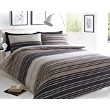Pieridae Textured Stripe Brown Duvet Cover & Pillowcase Set Bedding Quilt Case Single Double King Super King (King)
