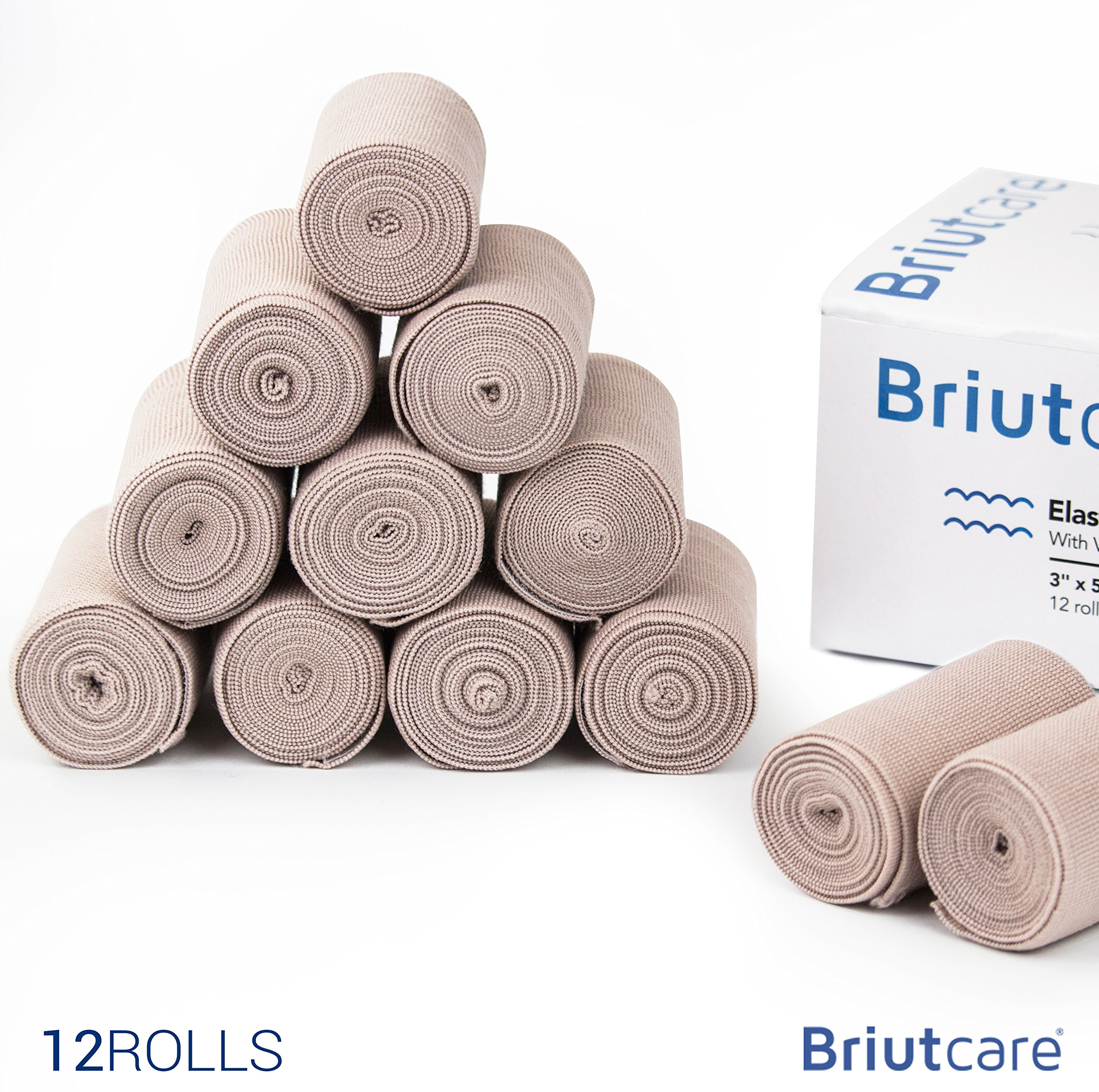 Elastic Bandage 3''x5 Yds (12 Pcs) by Briutcare | FDA Approved Compression Bandage Wrap With One Side Hook and Loop Closure | First Aid Supply for Swelling & Soreness of Wrist, Ankle & other Joints