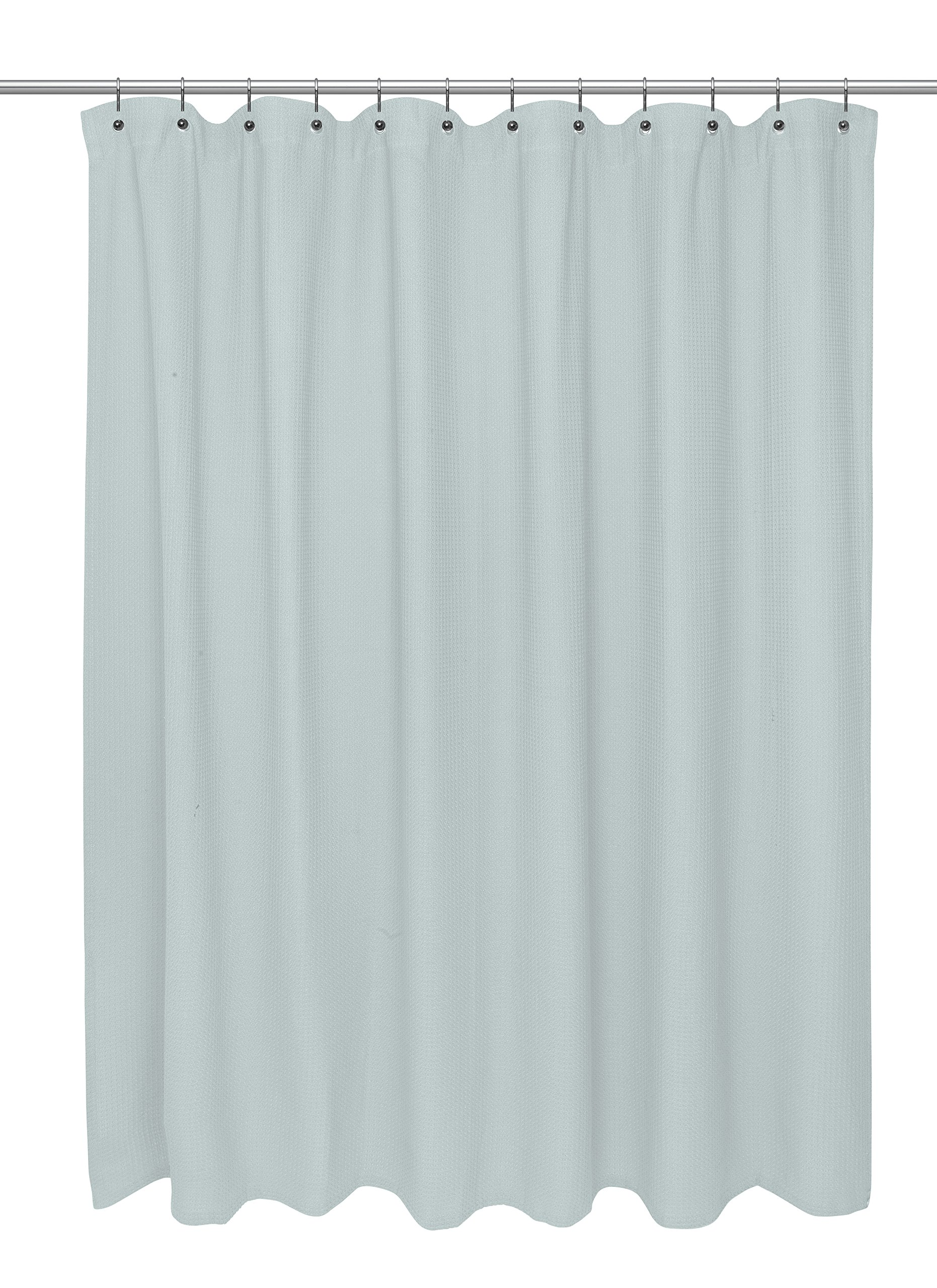 Carnation Home Fashions Standard Size 100% Cotton Waffle Weave Shower Curtain, Spa Blue