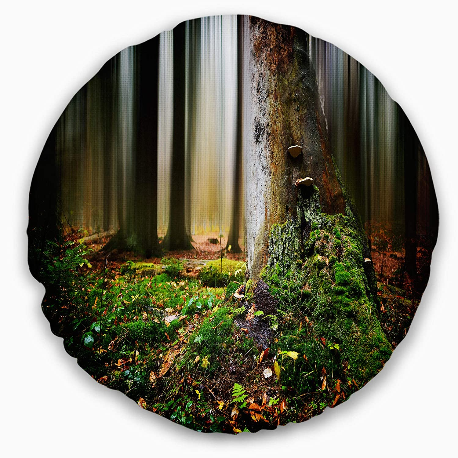 Sofa Throw Pillow 20 Insert Side Designart CU15432-20-20-C Green Forest on Snowy Morning Landscape Printed Round Cushion Cover for Living Room
